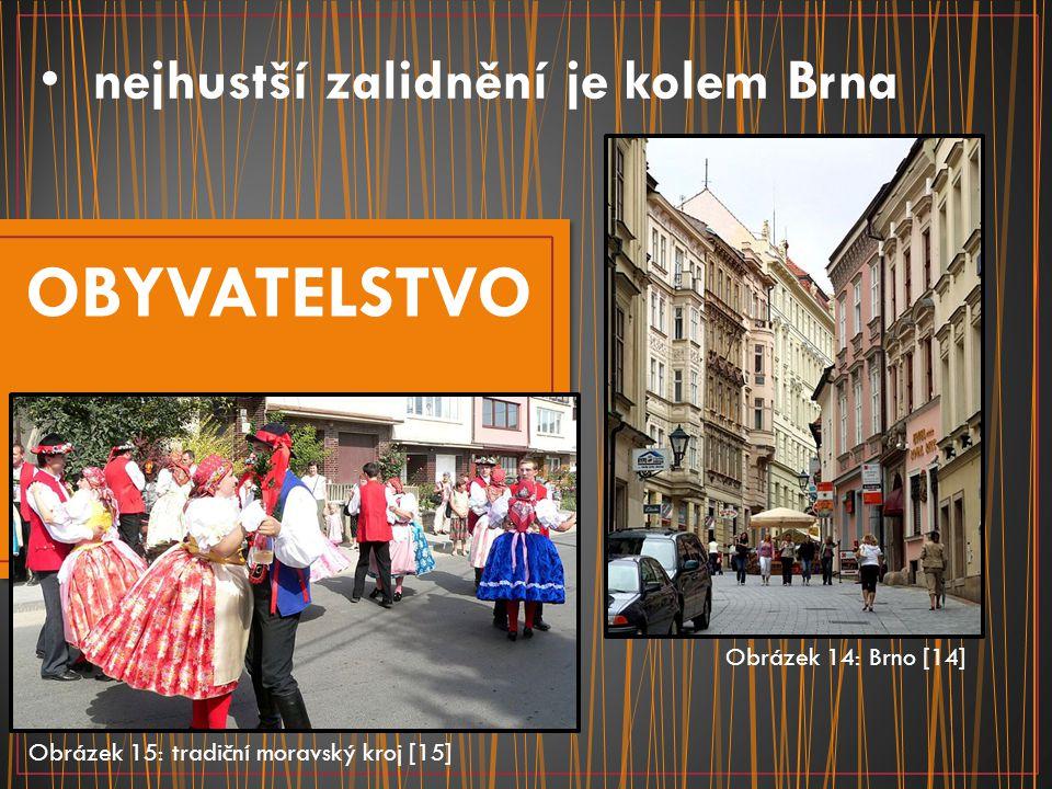OBYVATELSTVO nejhustší zalidnění je kolem Brna Obrázek 14: Brno [14]